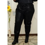 Дълбок панталон от екокожа с принт и коланче