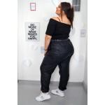 Спортен панталон с висока талия от тънка еластична еко кожа