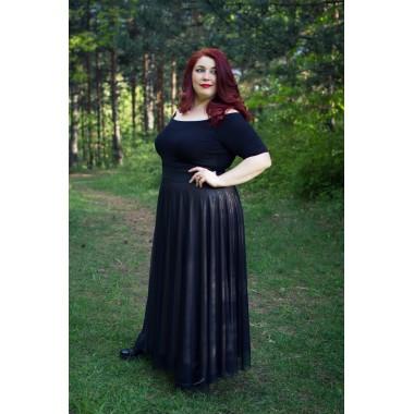 Дълга пола с мрежа и метален отблясък   SIRENA plus модерна макси мода