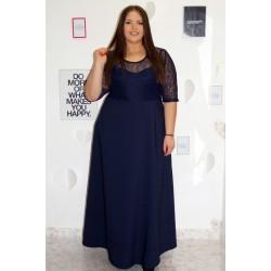 Официална дълга тъмно синя рокля