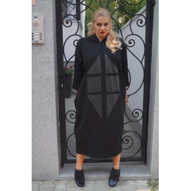 Рокля с кожени елементи и качулка |SIRENA plus онлайн магазин
