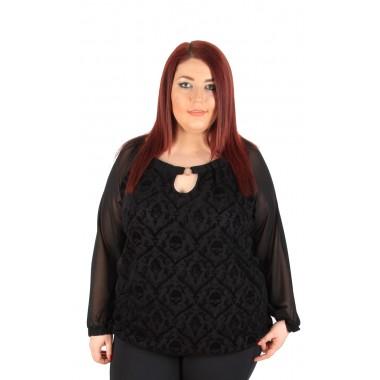 Екстравагантна блуза с шифонени ръкави | МАКСИ МОДА |SIRENA plus