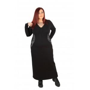 Дълга права рокля с остро деколте и връзки