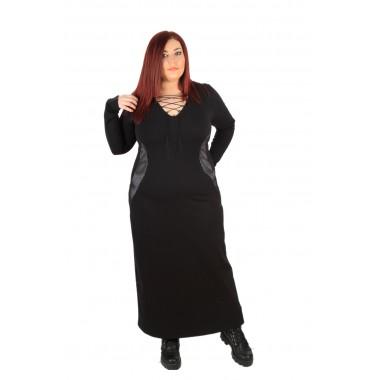Дълга права рокля с остро деколте и връзки    | SIRENA plus модерна макси мода