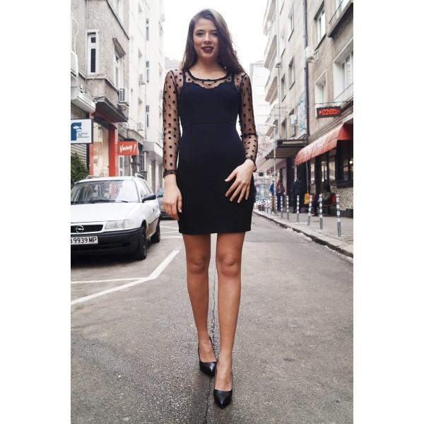 Къса секси рокля в черно