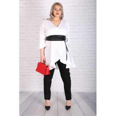Яка бяла риза-туника | Онлайн магазин за модерна макси мода