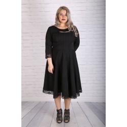 """Стилна черна рокля с дантелени подгъви """"АЛМА""""   Онлайн магазин за модерна макси мода"""