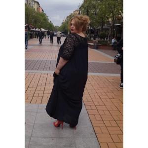 Дълга черна рокля от шифон