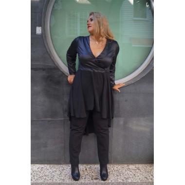 Черна туника с кожа и шифон |SIRENA plus онлайн магазин