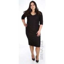 права дамска рокля в черно със златен цип
