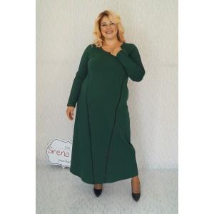 """Дълга плътна рокля с кожени ленти """"Агата"""" в тъмно зелено"""