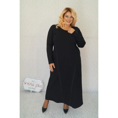"""Дълга плътна рокля с кожени ленти """"Агата"""" в черно"""