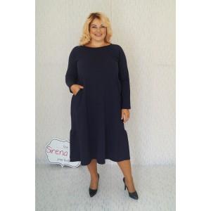 """Тъмно синя спортна рокля с волани """"Нора"""""""
