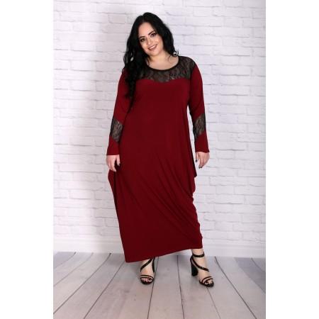 """Асиметрична рокля с дантела в червено """"ВАЯ"""""""