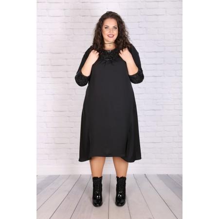 Асиметрична черна рокля с кожени пайети  ЛИДИЯ