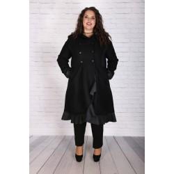 Разкошно вълнено палто с кожа
