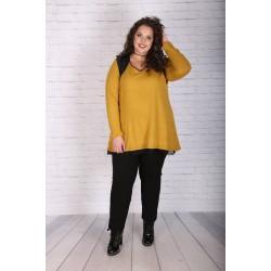 Елегантен пуловер цвят горчица