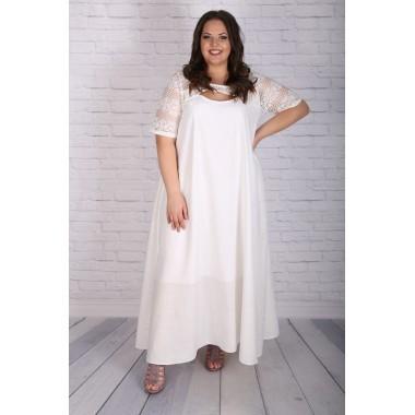 Бяла ленена рокля| Онлайн магазин за модерна макси мода