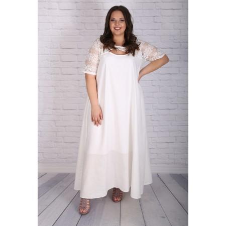 Бяла ленена рокля  Онлайн магазин за модерна макси мода