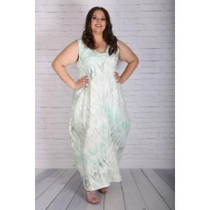 Лятна рокля от лен в зелено | SIRENA plus модерна макси мода