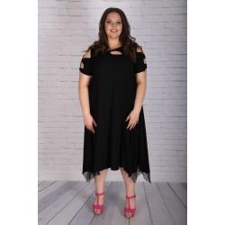 Лятна черна рокля с мрежа | SIRENA plus модерна макси мода