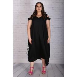 Ленена рокля с връзки в черно | SIRENA plus модерна макси мода