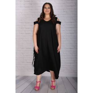Ленена рокля с връзки в черно