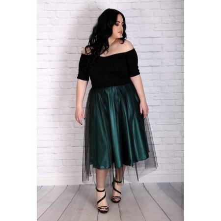 Къса официална рокля със зелен сатен САРА