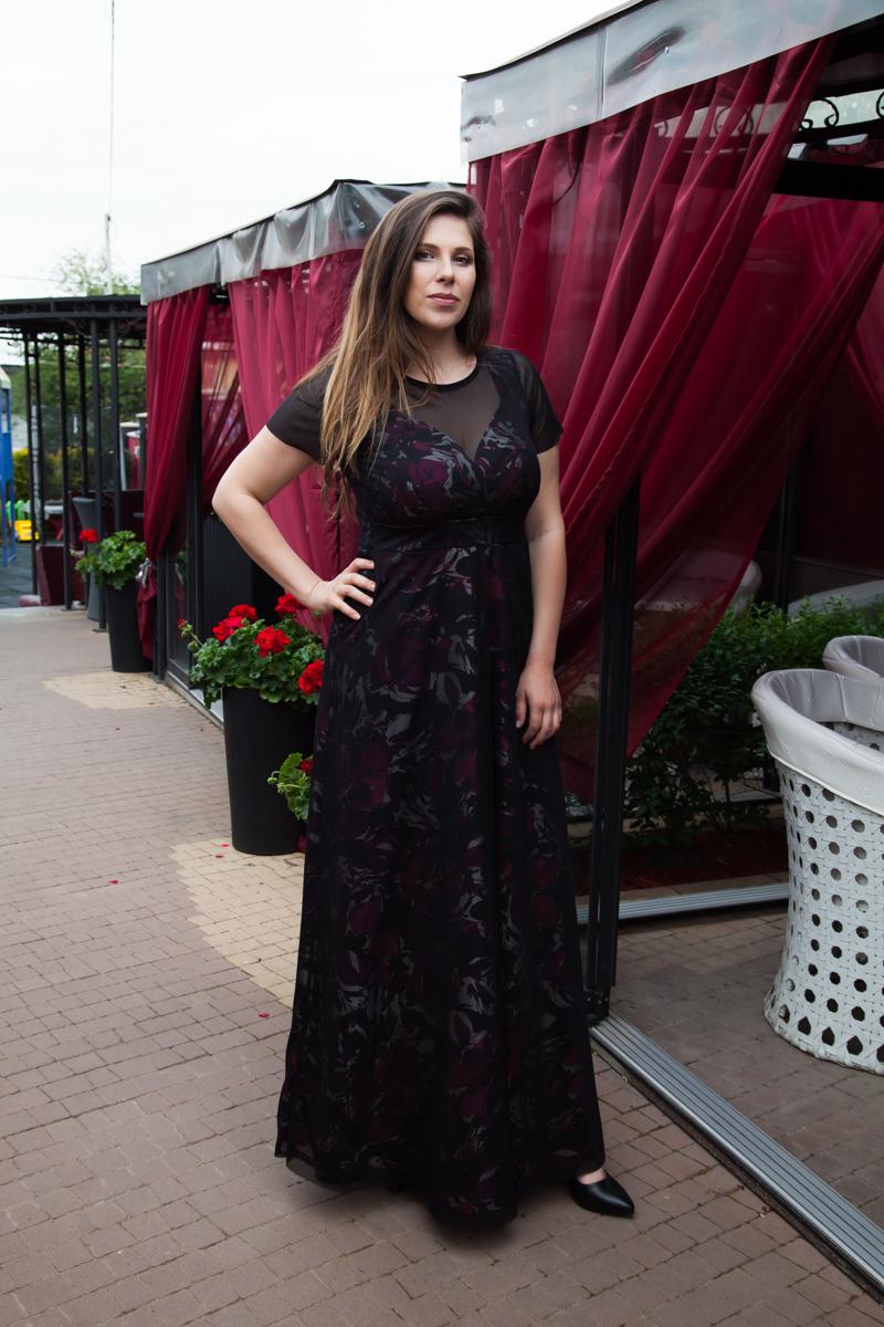 91c6f6d8caf Сатенена дълга рокля с тюл | Онлайн магазин за модерна макси мода