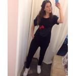Туника с реглан ръкав с апликация МИНИ в черно  |SIRENA plus онлайн магазин