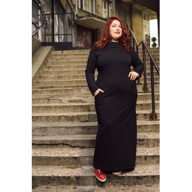 Ежедневна дълга рокля с красива яка | SIRENA plus модерна макси мода