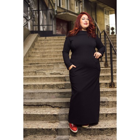 Ежедневна дълга рокля с красива яка