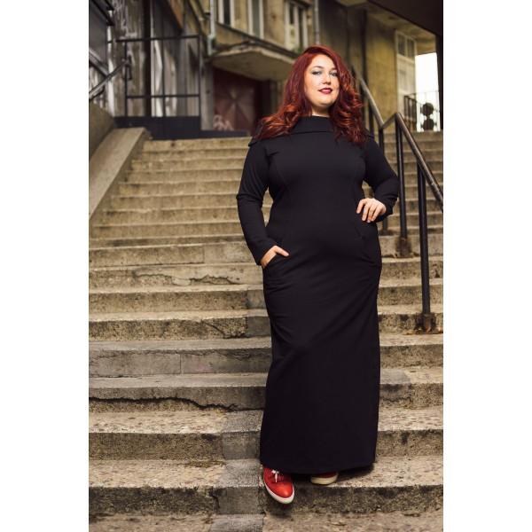 Ежедневна дълга рокля с красива яка   SIRENA plus модерна макси мода