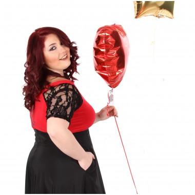 Официална туника за пола в червено | SIRENA plus модерна макси мода