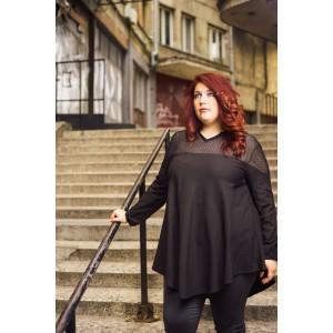 Риза с акцент мрежа в черно | SIRENA plus онлайн магазин модерна макси мода