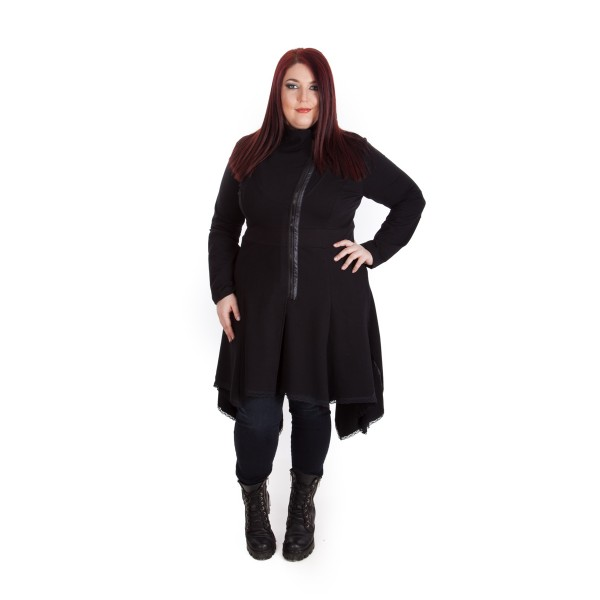 Дълго асиметрично манто Laced Ends | SIRENA plus модерна макси мода
