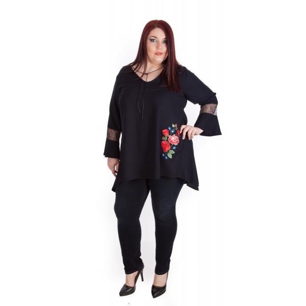 Тъмно синя туника с бродерия Rosy Fame  | SIRENA plus модерна макси мода