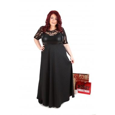 7e7a413a2ec Официална дълга рокля с кожа и дантела   Онлайн магазин за модерна макси  мода