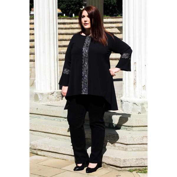 Есенна дълга риза с дантела    SIRENA plus онлайн магазин