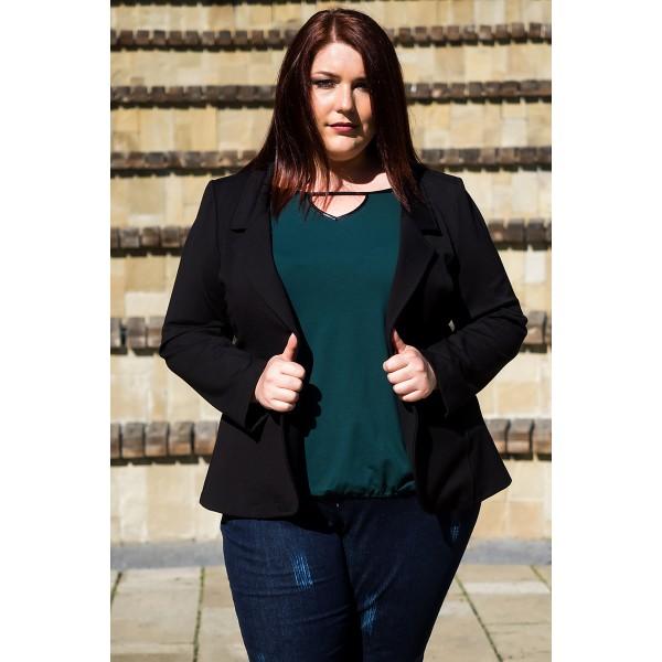 Черно сако от еластична материя | SIRENA plus модерна макси мода