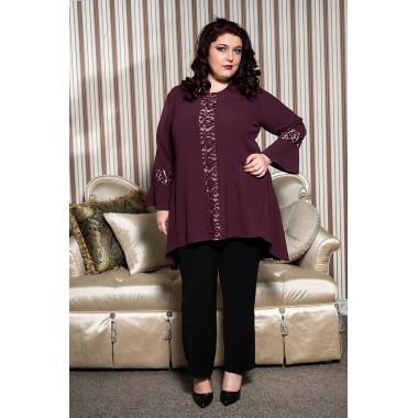 Дълга туника в бордо  | Онлайн магазин за модерна макси мода SIRENA plus