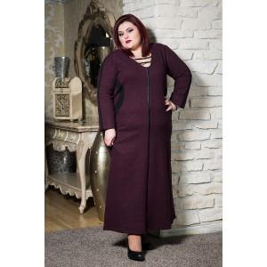 Топла зимна рокля с шал яка в бордо