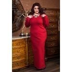 Права рокля от пунта с акцент в червено