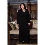 Права рокля от пунта с акцент в черно  Онлайн магазин за модерна макси мода SIRENA plus
