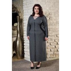 Топла зимна рокля с шал яка в сиво   Онлайн магазин за модерна макси мода SIRENA plus