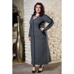 Топла зимна рокля с шал яка в сиво | Онлайн магазин за модерна макси мода SIRENA plus
