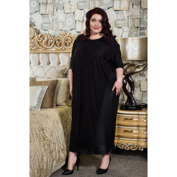 Свободна рокля с дантела и кожа  | Онлайн магазин за модерна макси мода SIRENA plus
