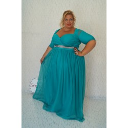 Кралска рокля в цвят аквамарин