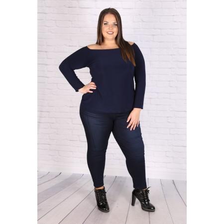 Макси тъмно синя блуза-туника с отворени рамене