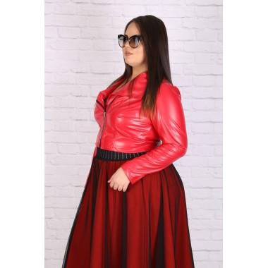Макси червено кожено яке 8217 | Онлайн магазин за модерна макси мода